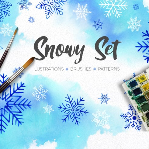 The Essential Branding Kit with 500+ Resources – Only $45 - watercolor hand drawn snowflakes main 490x490
