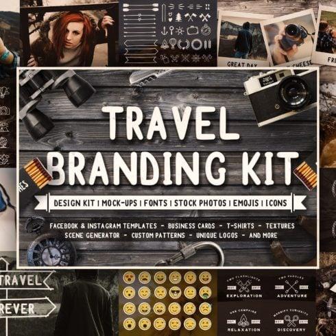 Full Travel Branding Kit - Only $25! - 1 ultimate branding kit logo scene genarator mock up social media vector filters icons stock photos travel 2  490x490
