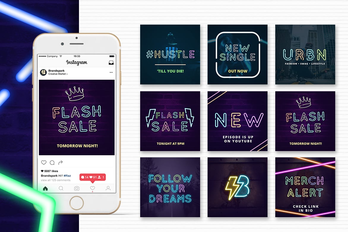 Neon Social Media Kit + Bonus - only $19 - Animated Effects Animated Social Media Kit Instagram Templates Entrepreneur Millenial Young Fresh Business Insta Boost Booster