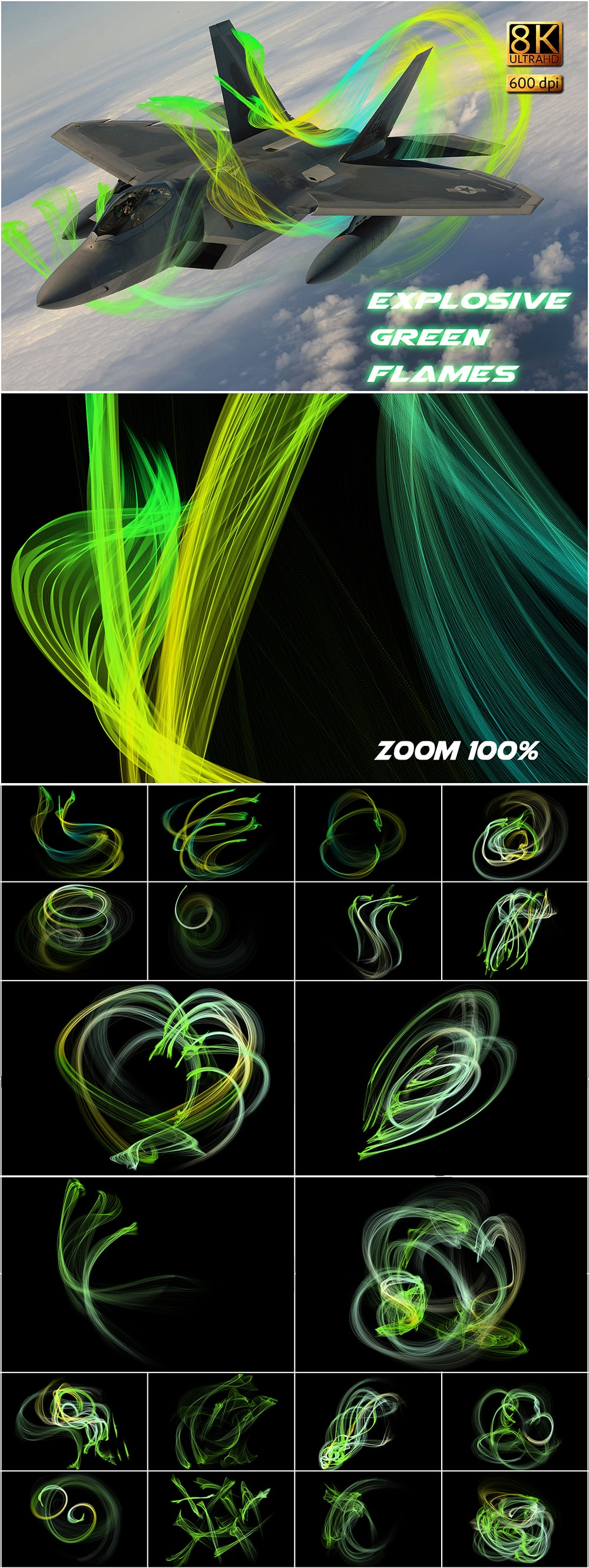 120 Professional Overlays with Extended license - Explosive Green Flames