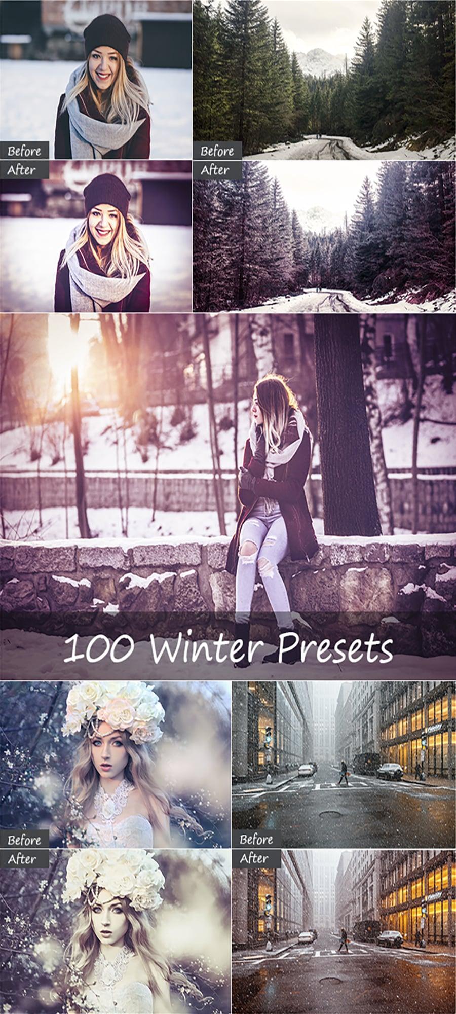100 Winter Lightroom Presets - Full Image 900x2000px