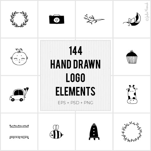 Author - Julia Khimich Hand drawn Logo Elements Preview 01