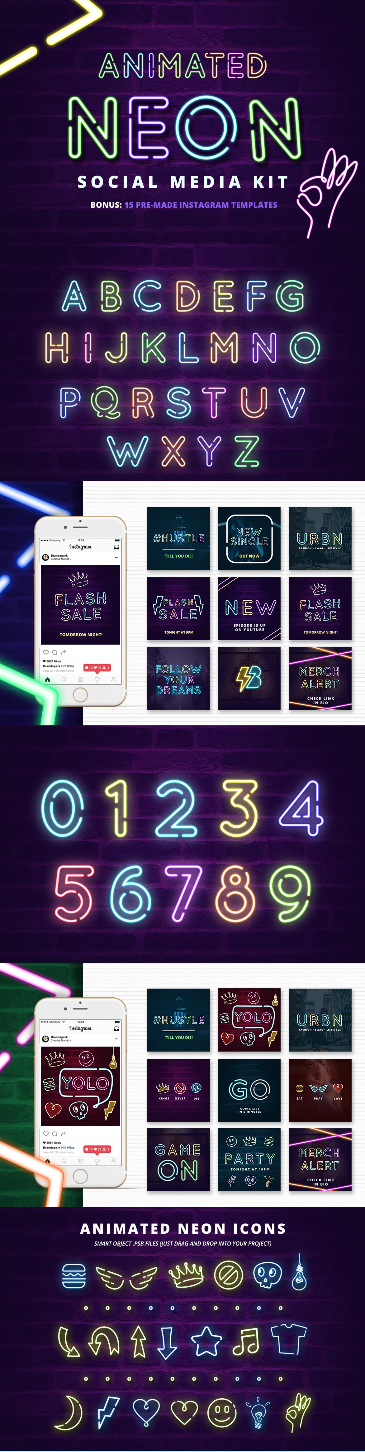 Neon Social Media Kit + Bonus - only $19 - Long Animated Social Media Kit Instagram Templates Entrepreneur Millenial Young Fresh Business Insta Boost Booster