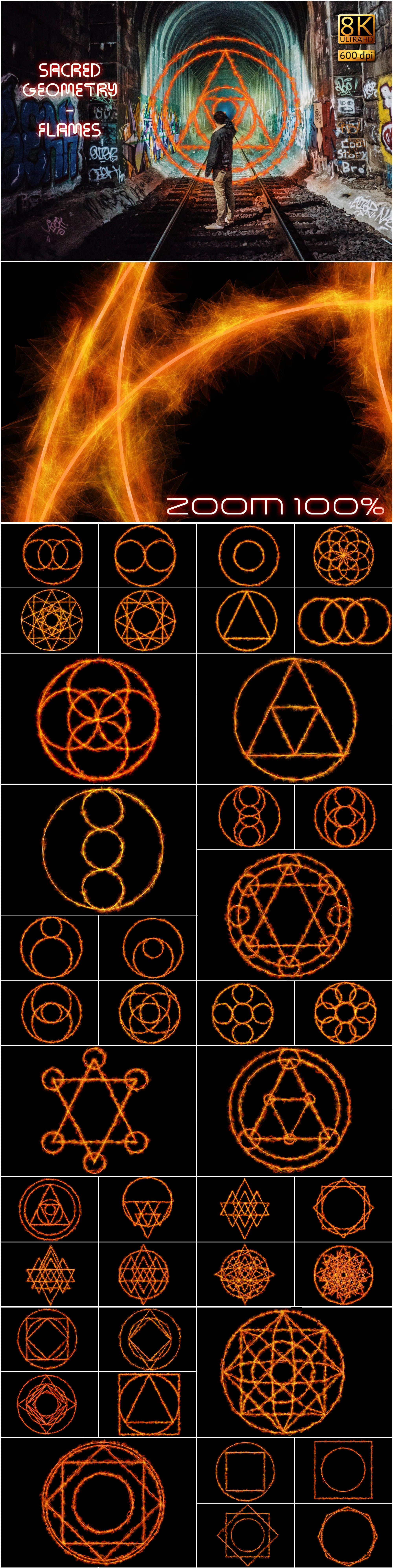 130 Professional Overlays - Sacred Geometry Flames