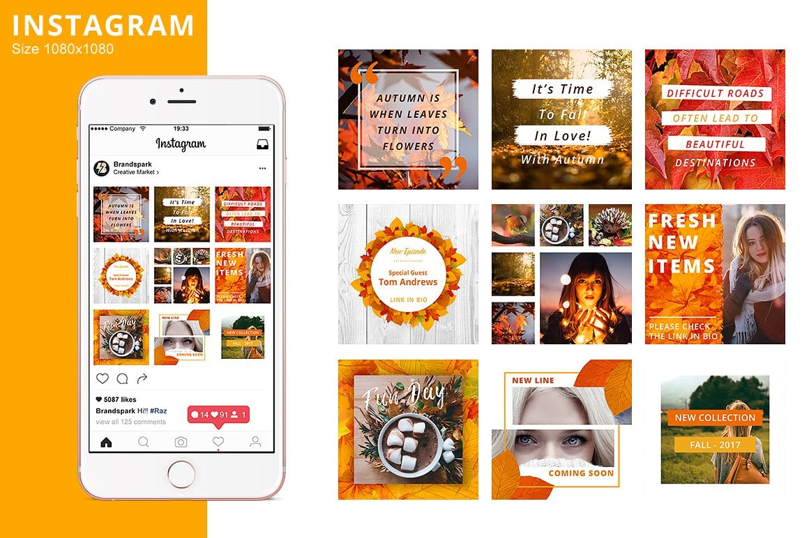Animated Instagram Graphics Bundle - autumn fall social media instagram posts graphic design facebook pinterest leaves colors october business entrepreneur animated animate video gif loop loopable 2