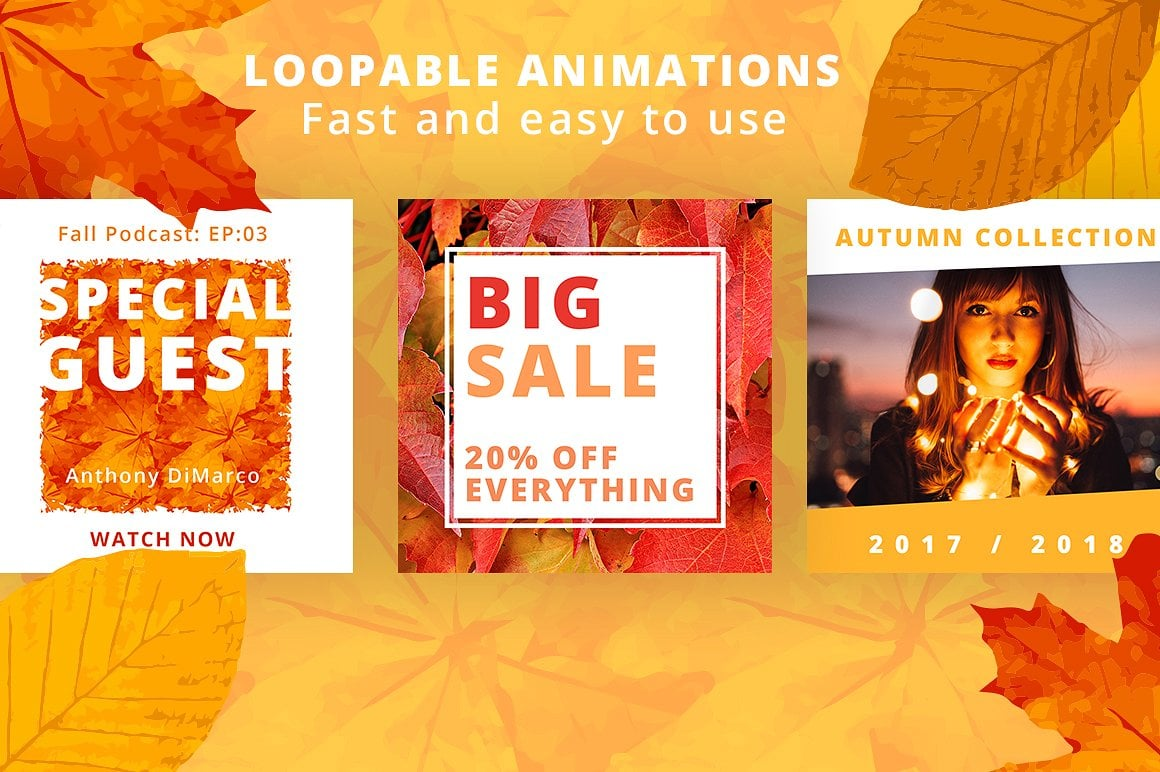 Animated Instagram Graphics Bundle - autumn fall social media instagram posts graphic design facebook pinterest leaves colors october business entrepreneur animated animate video gif loop loopable 3