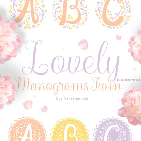 Lovely Monograms: 26  elements in 3 color variations - preview 01