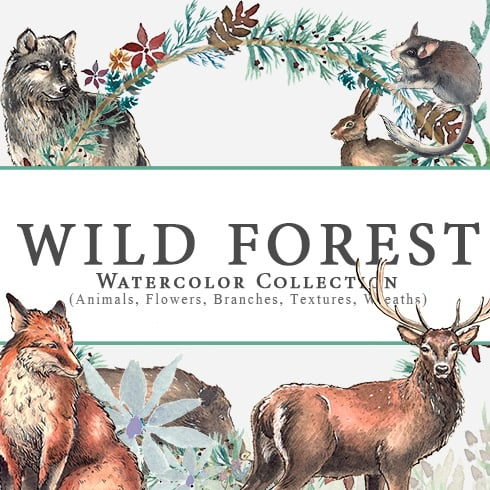 Wild Forest Watercolor Collection - wforest prev 1