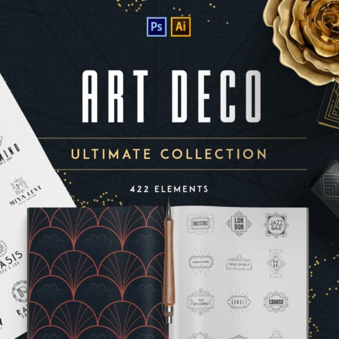 Best Examples Art Deco Graphic Design: Fonts, Posters, Logos, Patterns - 490 1 490x490