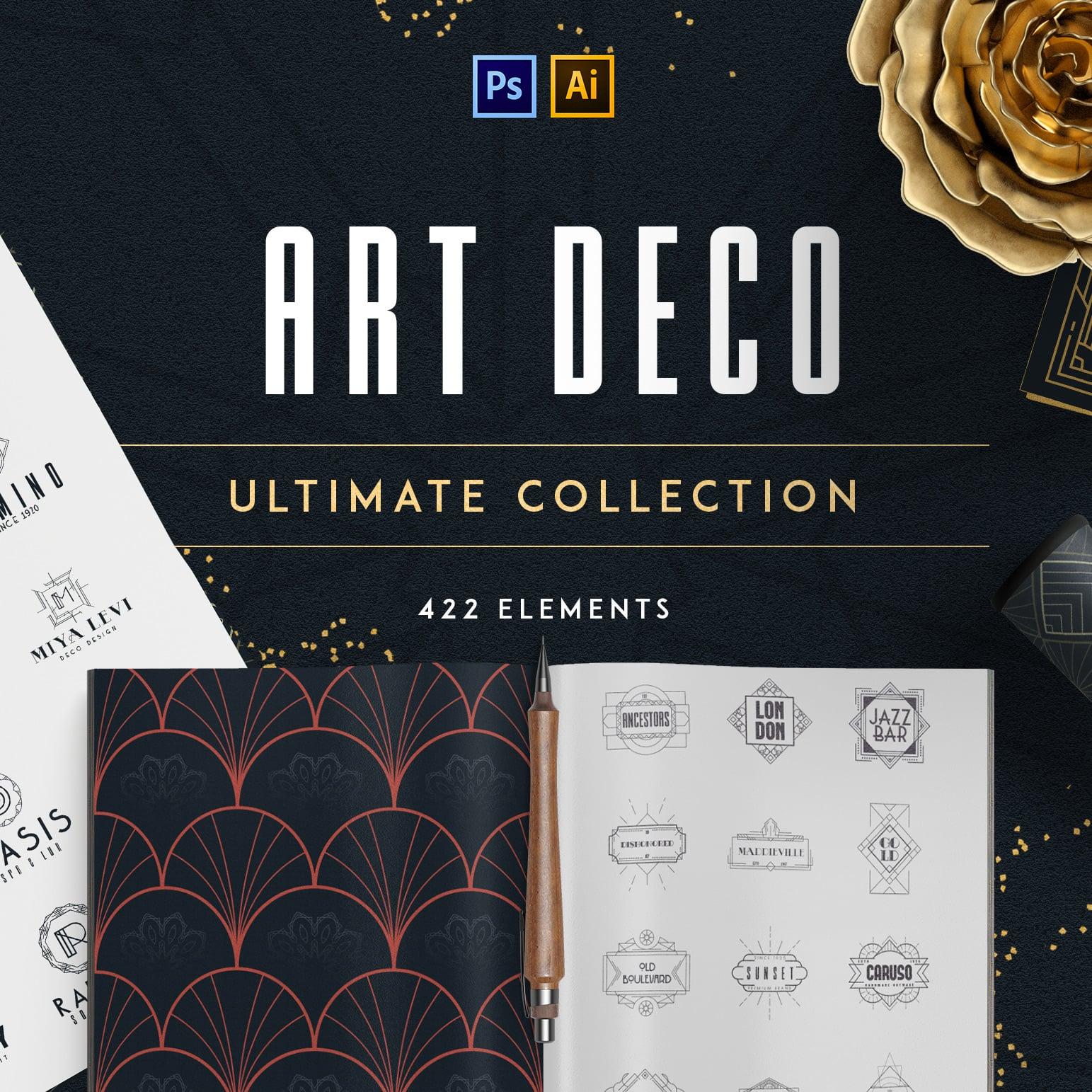12 Art Deco illustrations - Ai, EPS, PSD - 490 1