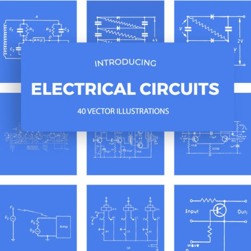 Vintage Electrical Circuits Illustrations [40 Itens] - 490 7 490x490