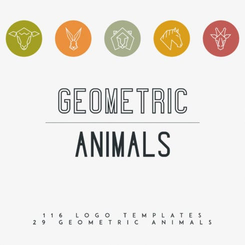 116 Geometric Animal Logo Templates - 493 490x490