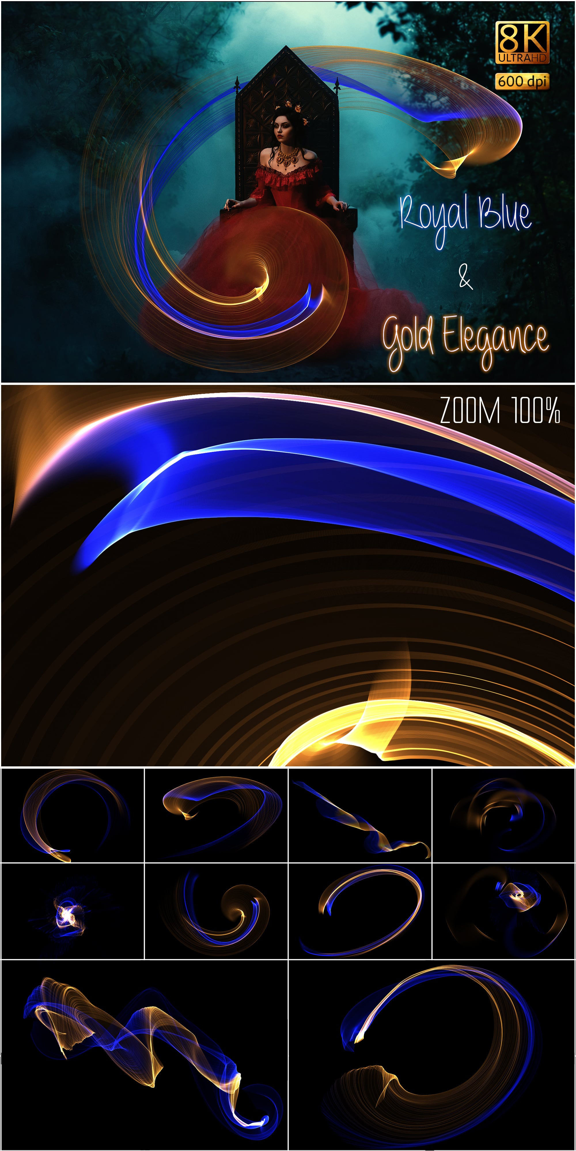 149 Professional Overlays - Royal Blue Gold Elegance