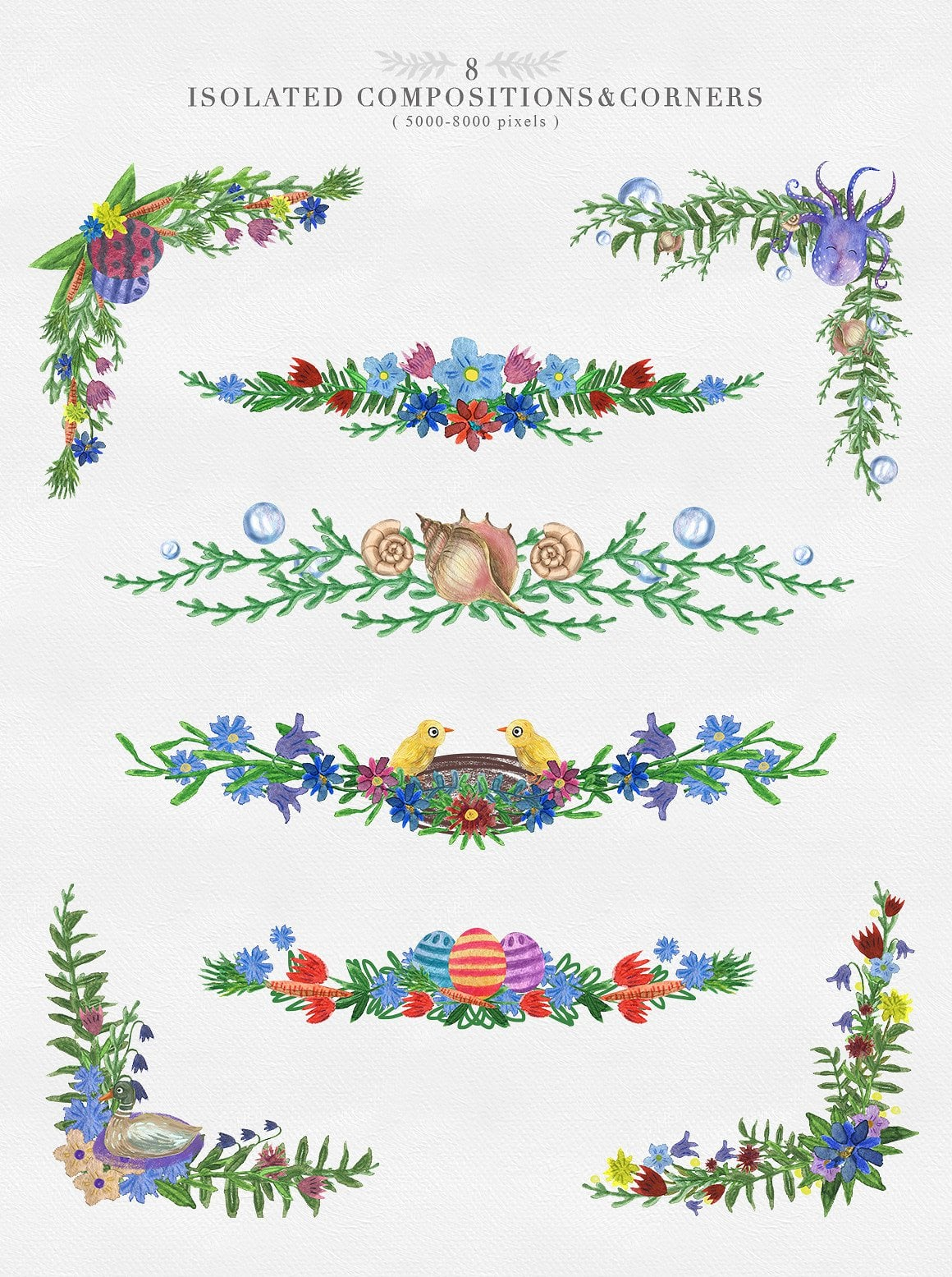 Easter Animals Watercolor Collection: 65 clipart elements