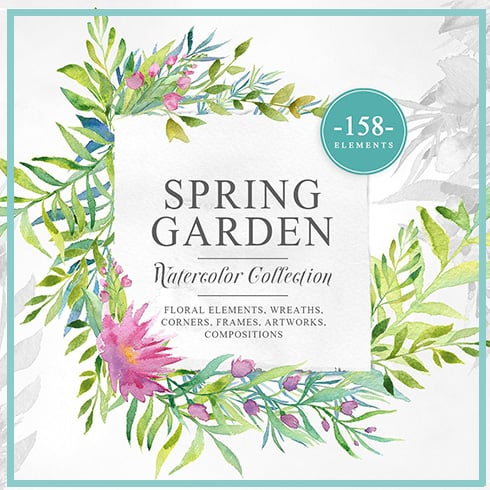 Spring Garden Watercolor Collection - only $12! - garden prev 1