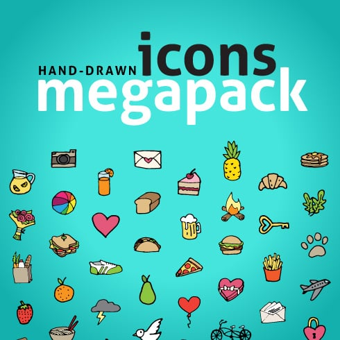 600+ Hand Drawn Icons Megapack - icon cover1
