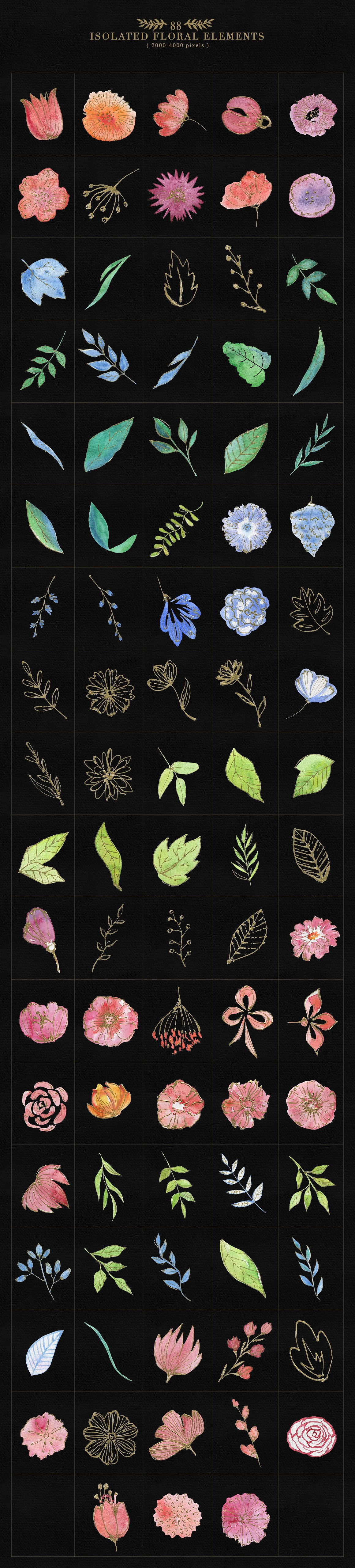 Collection of Floristic Cliparts - prew2 88 floral elements