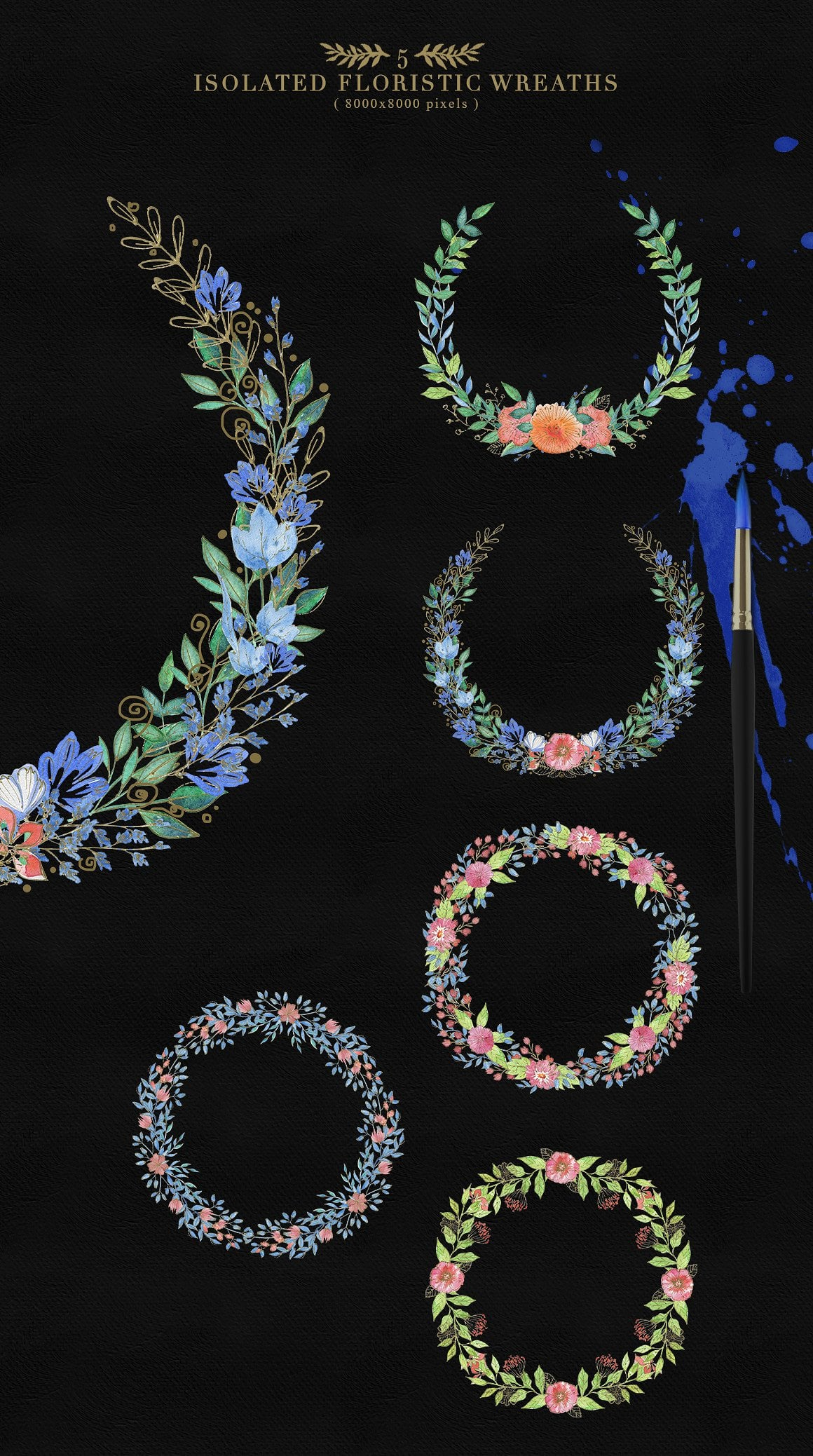 Collection of Floristic Cliparts - prew4 5 floristic wreaths