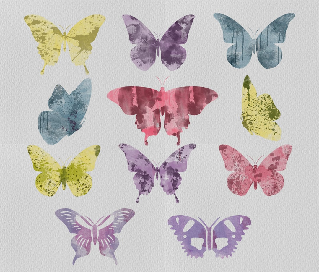 80 Watercolor Butterfly Set
