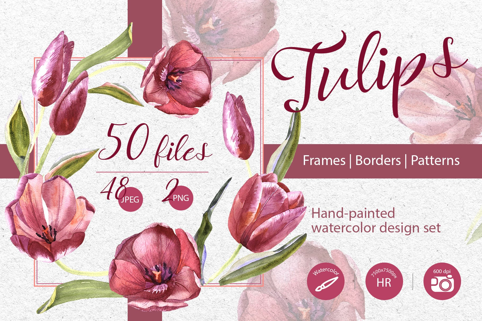 Wildflower Red Tulips PNG Watercolor Set - cover 1