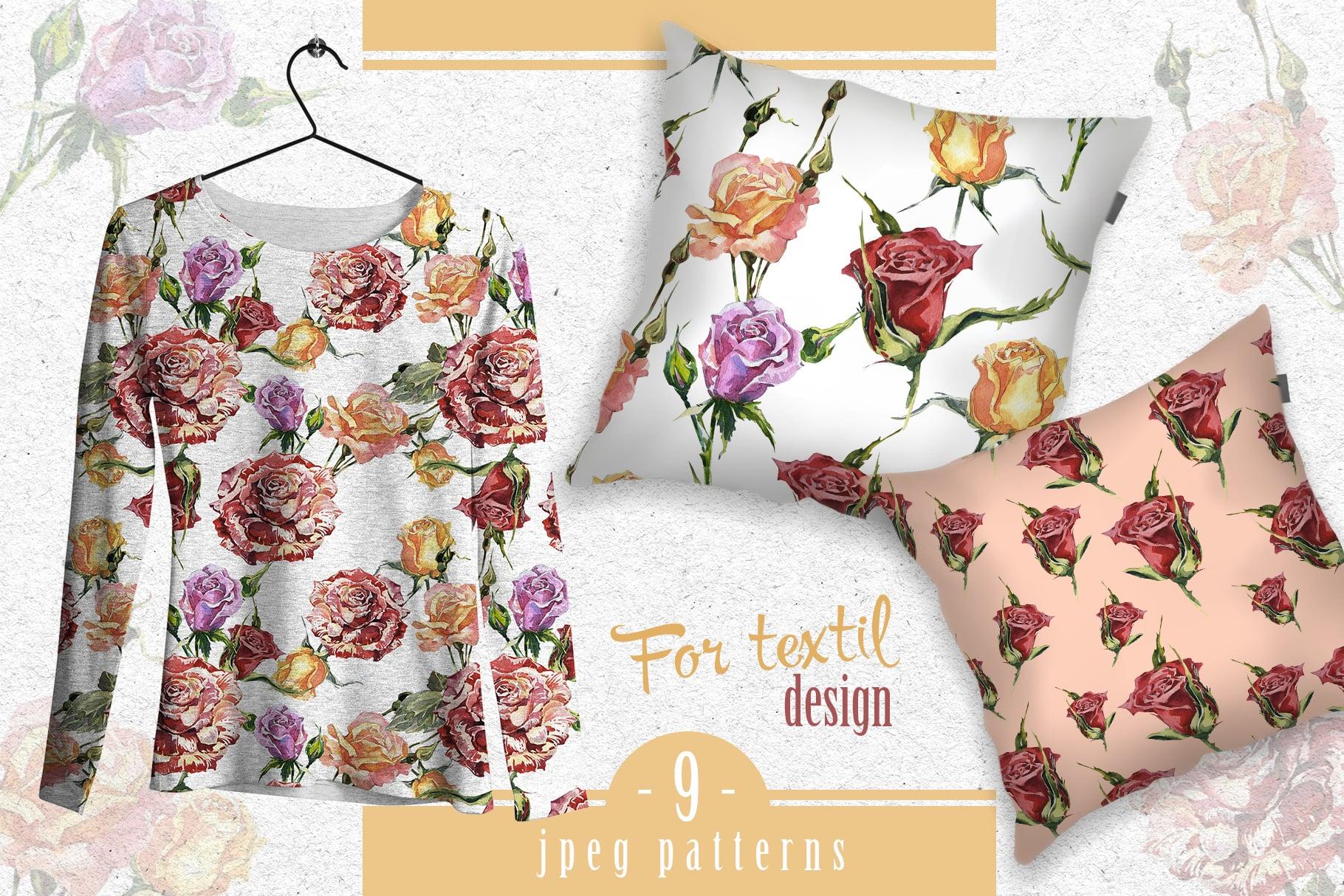 Wonderful Rose Garden PNG Watercolor Set