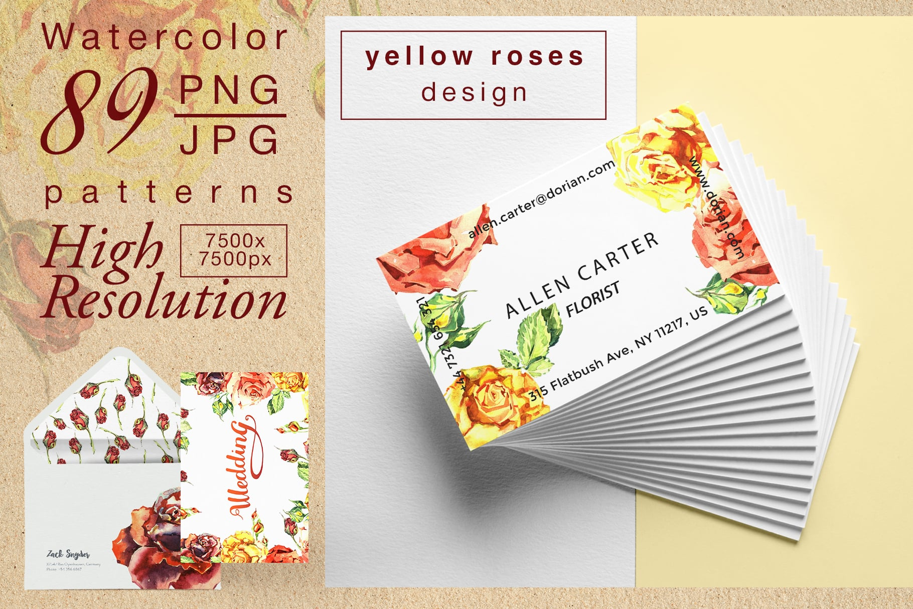 Yellow roses PNG watercolor set