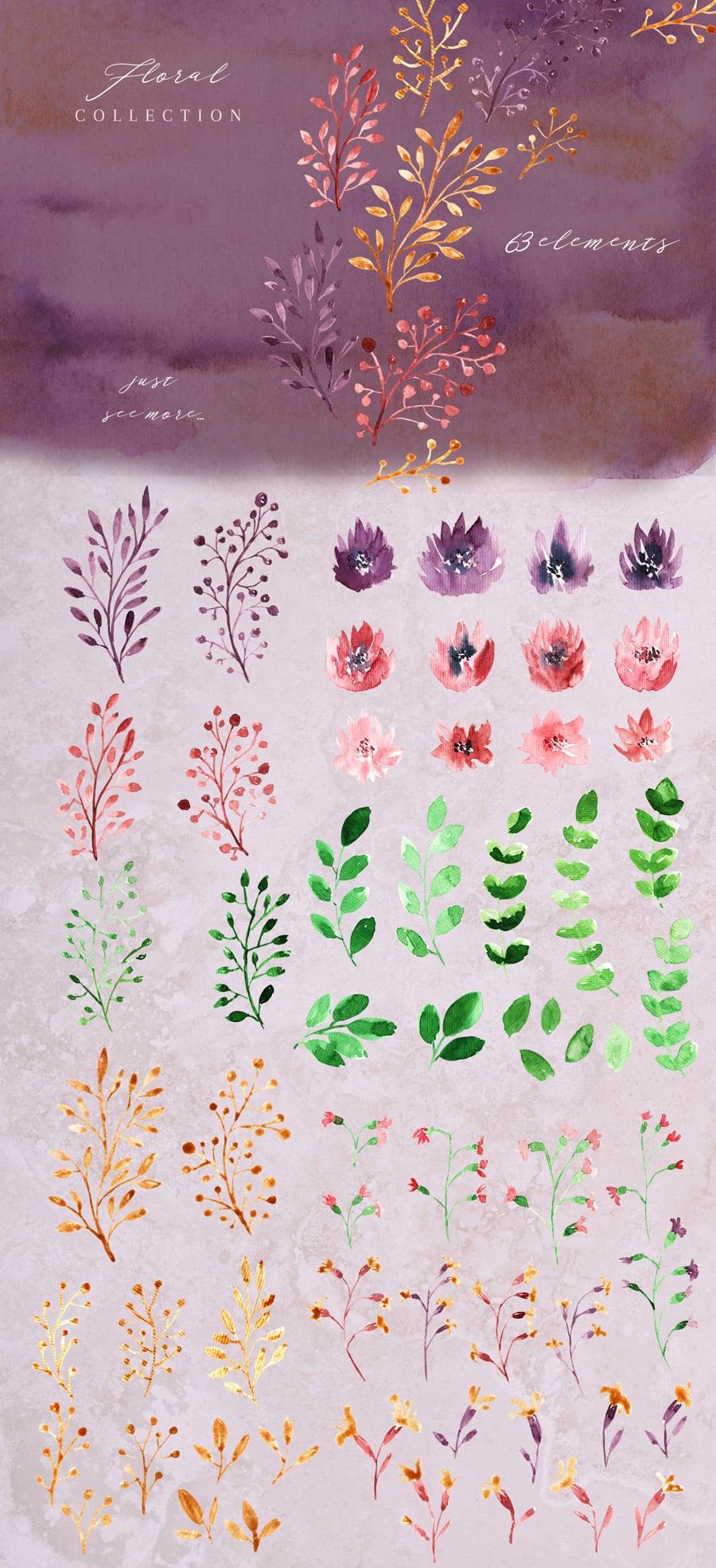 Golden Bloom: Watercolor Monogram Set - golden 4 full