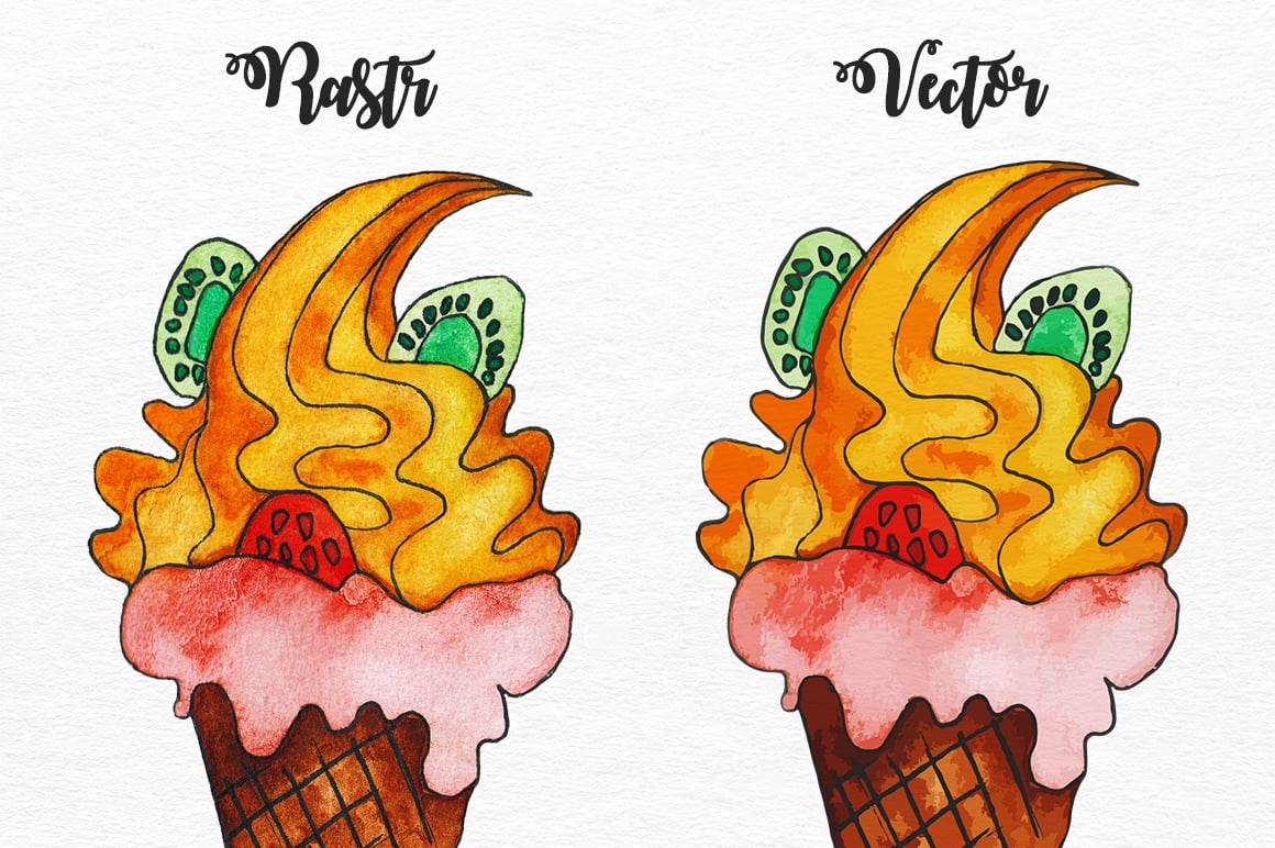 20 Watercolor Hand Drawn Ice Creams Vector & Rastr