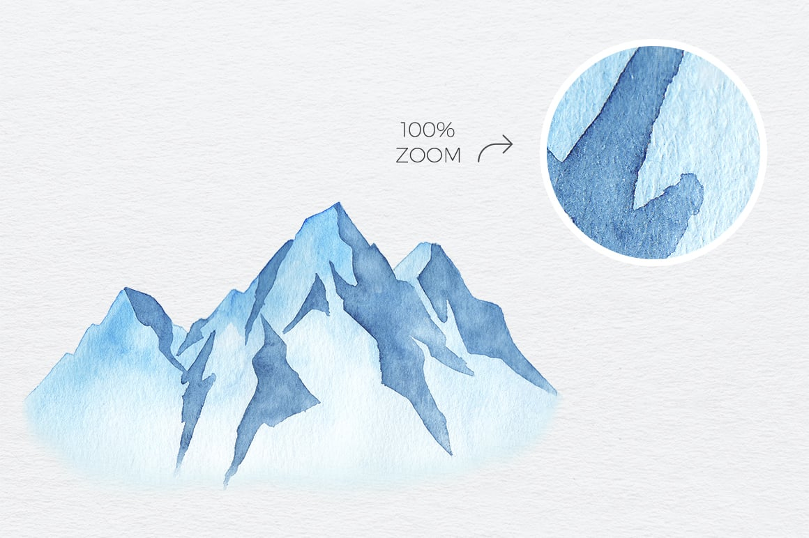 10 Watercolor Hand Drawn Mountains Rastr and Vector