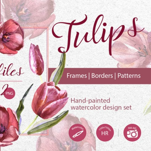 Wildflower Red Tulips PNG Watercolor Set - promo 1 490x490