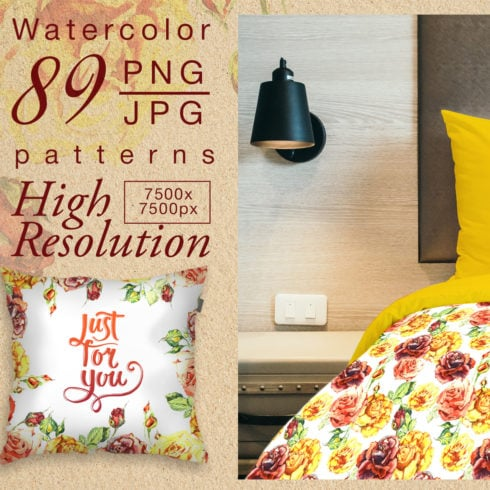 Yellow roses PNG watercolor set - $8 - promo 2 1 490x490