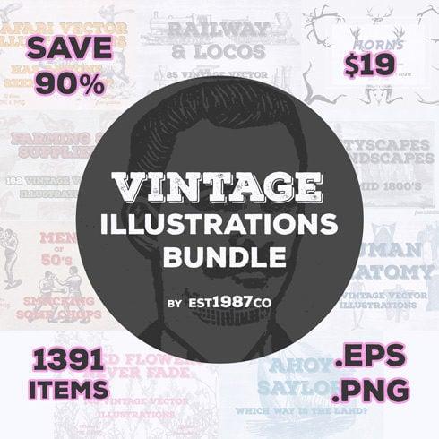 Vintage Vector Illustrations Bundle Example.