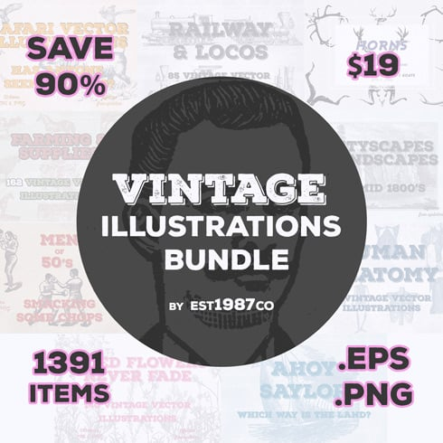 Vintage Vector Illustrations Bundle [Multiple Categories, 1391 Items] - bundle mb1