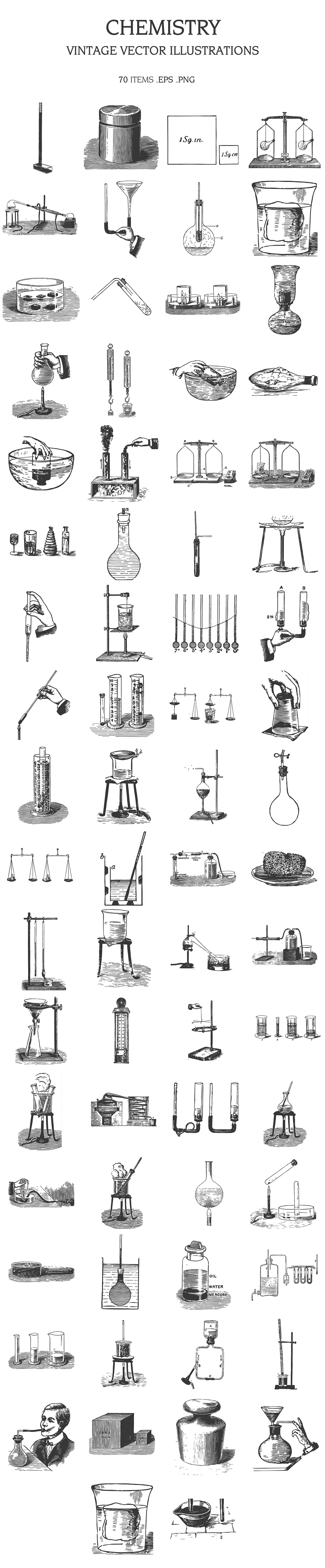 Lots of vintage attributes for chemical experiments.
