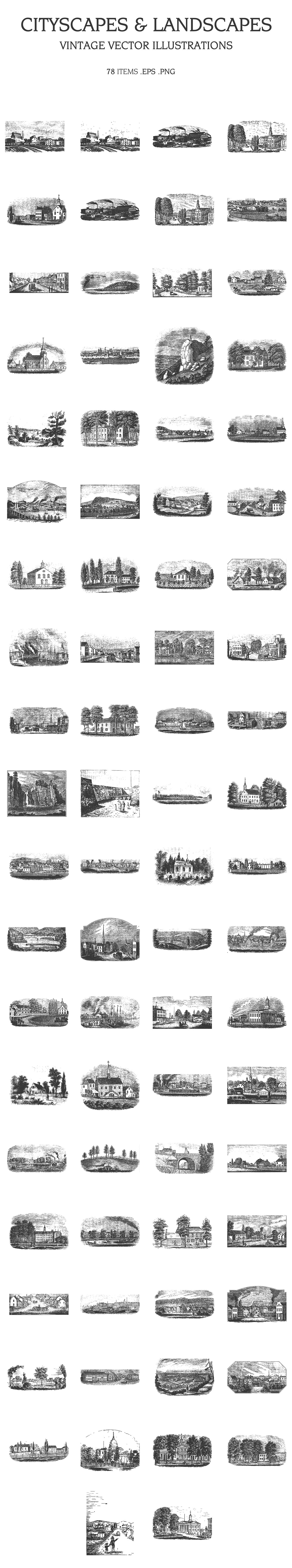 Vintage Vector Illustrations Bundle [Multiple Categories, 1391 Items] - cityscapes