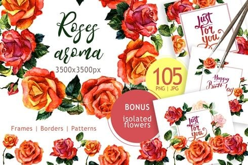 Paradise Roses PNG Watercolor Flower Set - cover 1new 490x327