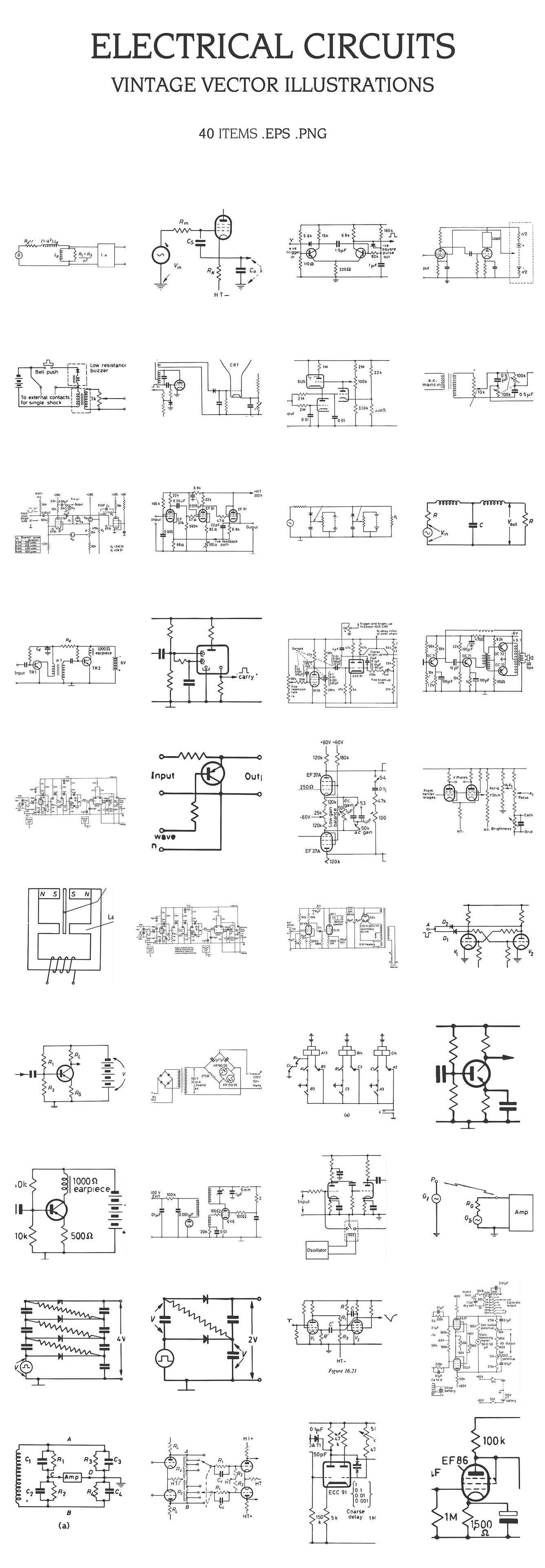 Vintage Vector Illustrations Bundle [Multiple Categories, 1391 Items] - electrical circuits