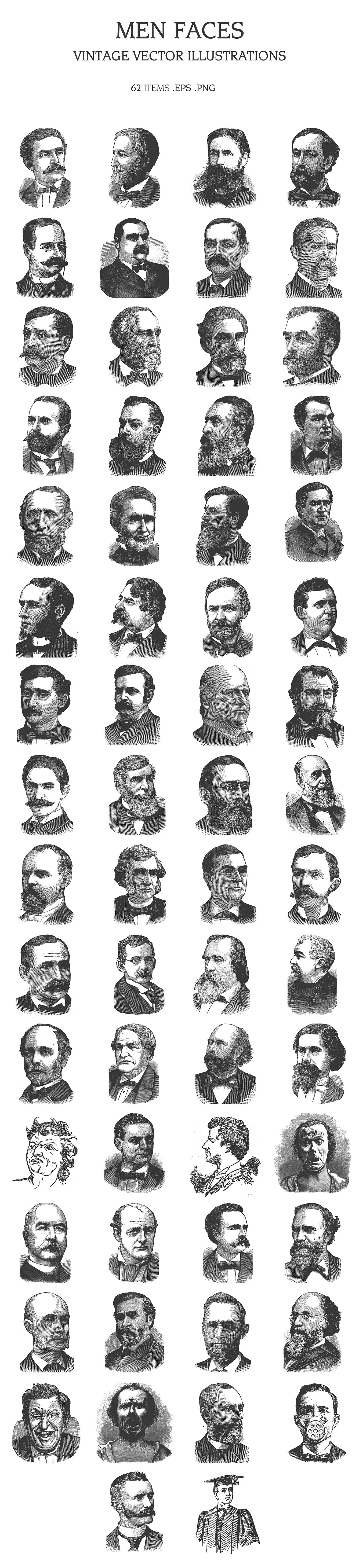 The faces, probably, of intelligent people with wisdom in their eyes, just emerged from under a black pencil.
