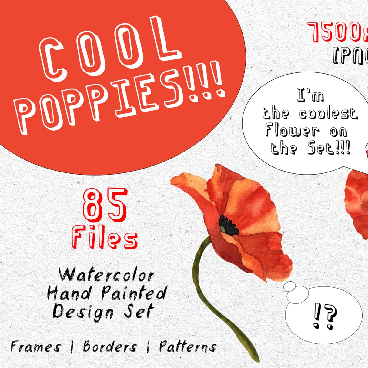 Cool Poppies PNG Watercolor Set main cover.