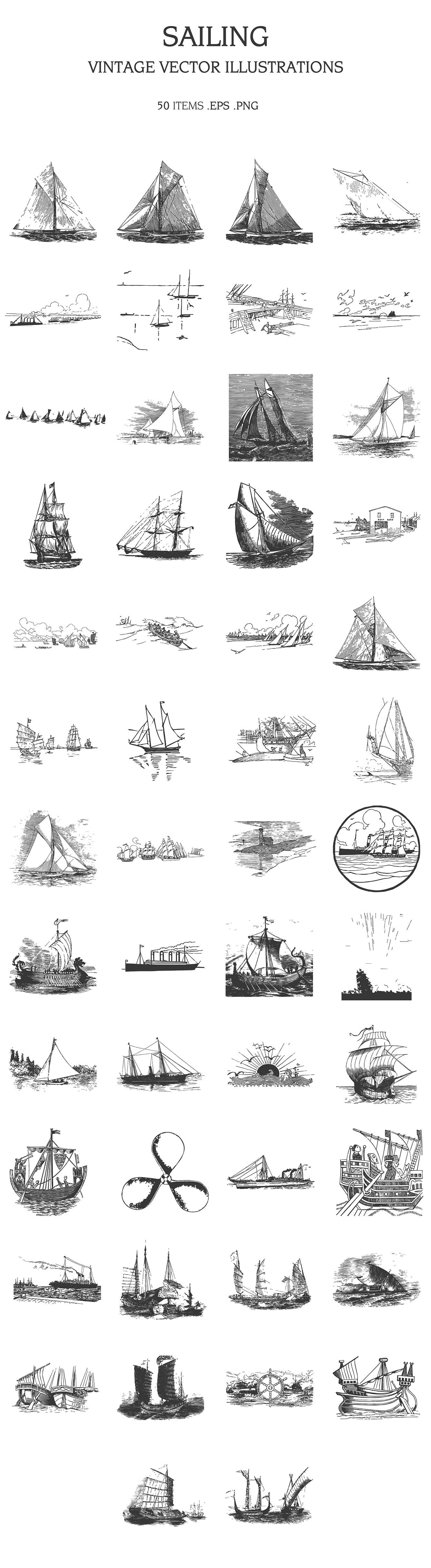 Various ships drawn in pencil.