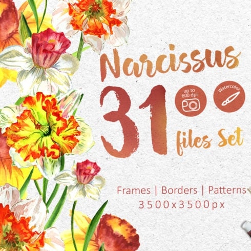 Narcissus Lemon PNG Watercolor Flower Set - promo 1 2 490x490