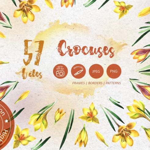 Yellow Crocuses PNG Watercolor Flower Set - promo 1 4 490x490