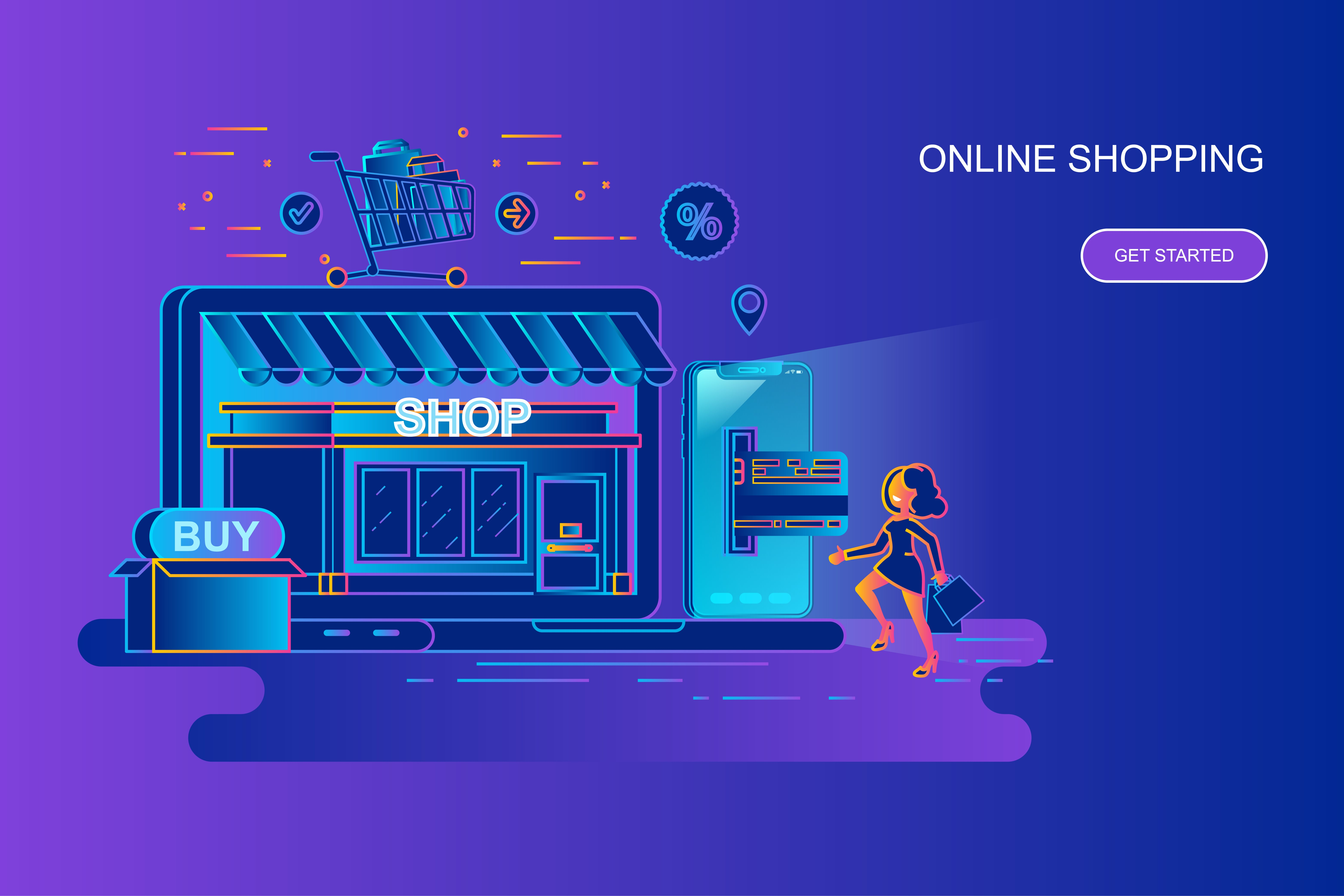 Modern gradient flat line concept web banner of online shopping with decorated small people character. Landing page template. Conceptual vector illustration for web and graphic design, marketing.