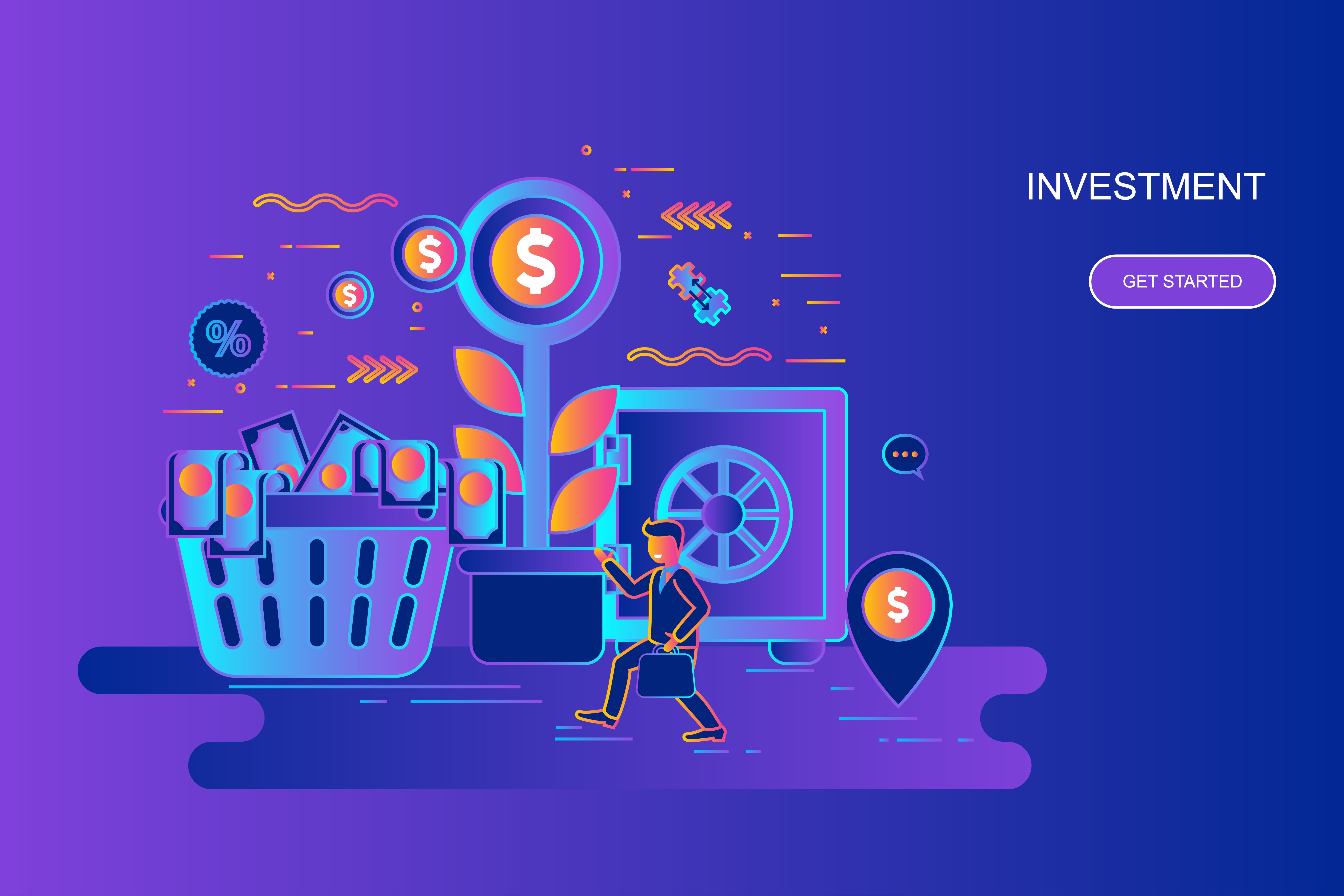 Modern gradient flat line concept web banner of investment and growth economy with decorated small people character. Landing page template. Conceptual vector illustration for web, graphic design.