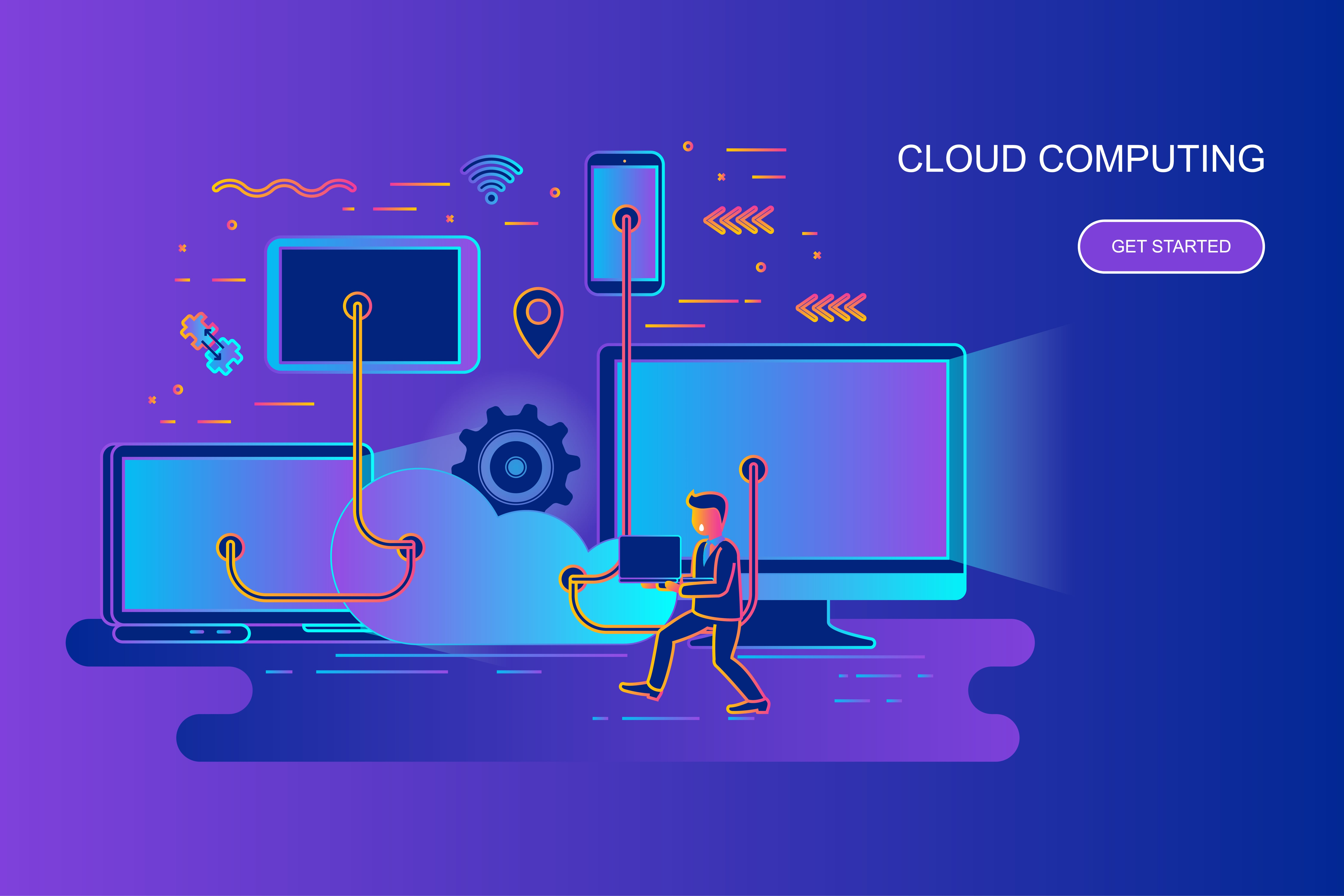 Modern gradient flat line concept web banner of cloud computing with decorated small people character. Landing page template. Conceptual vector illustration for web and graphic design, marketing.