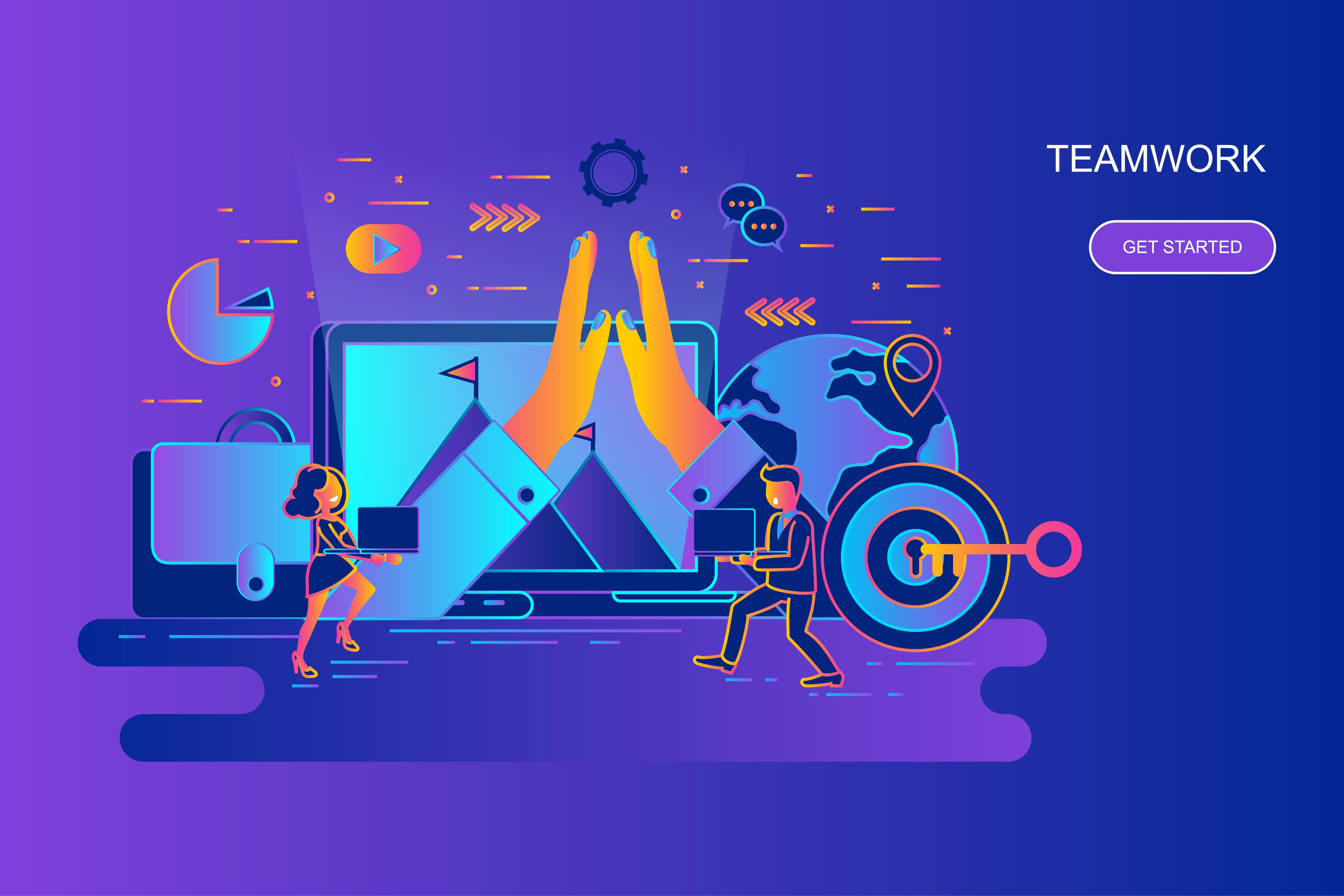 Modern gradient flat line concept web banner of teamwork and business with decorated small people character. Landing page template. Conceptual vector illustration for web graphic design, marketing.