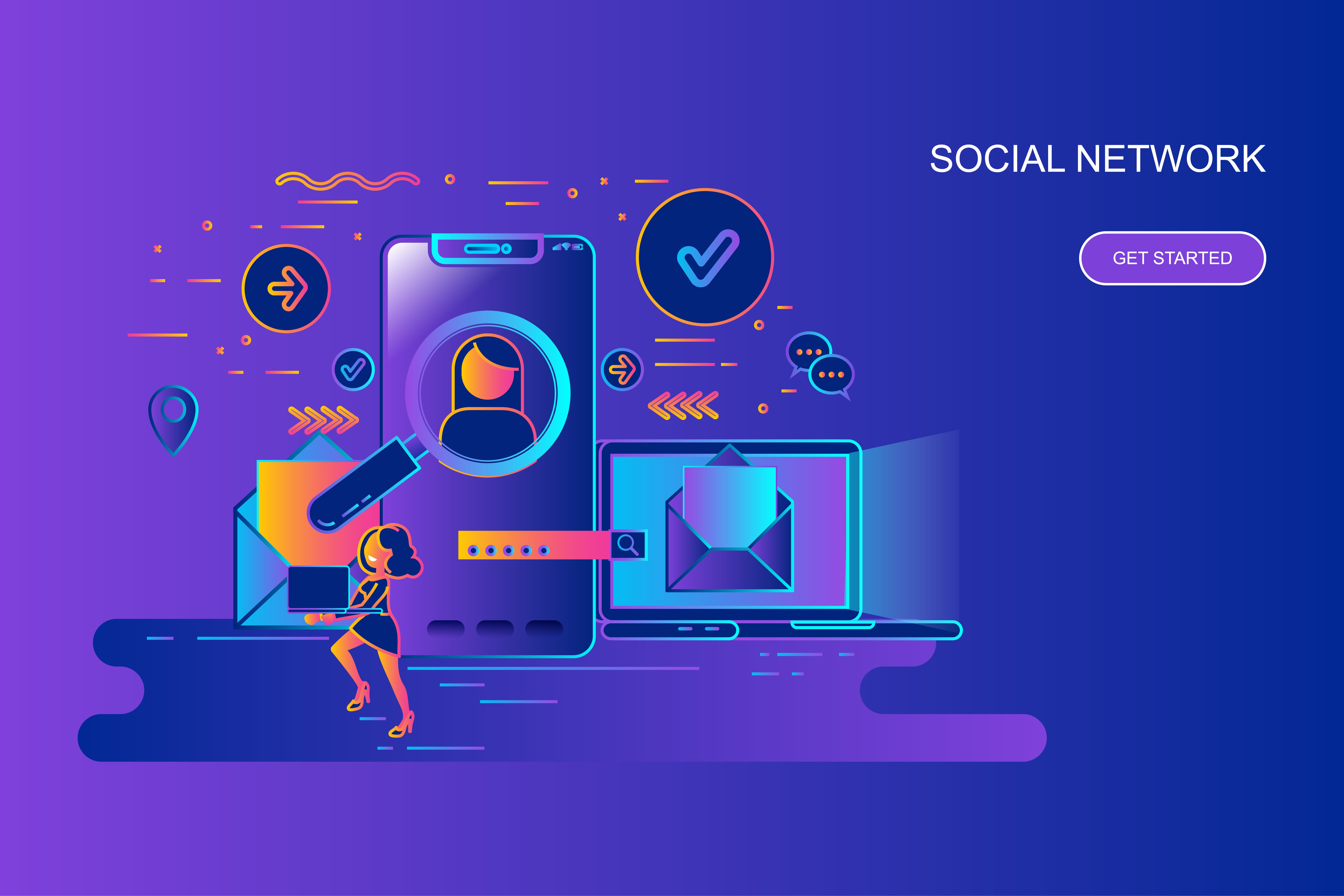 Modern gradient flat line concept web banner of social network with decorated small people character. Landing page template. Conceptual vector illustration for web and graphic design, marketing.