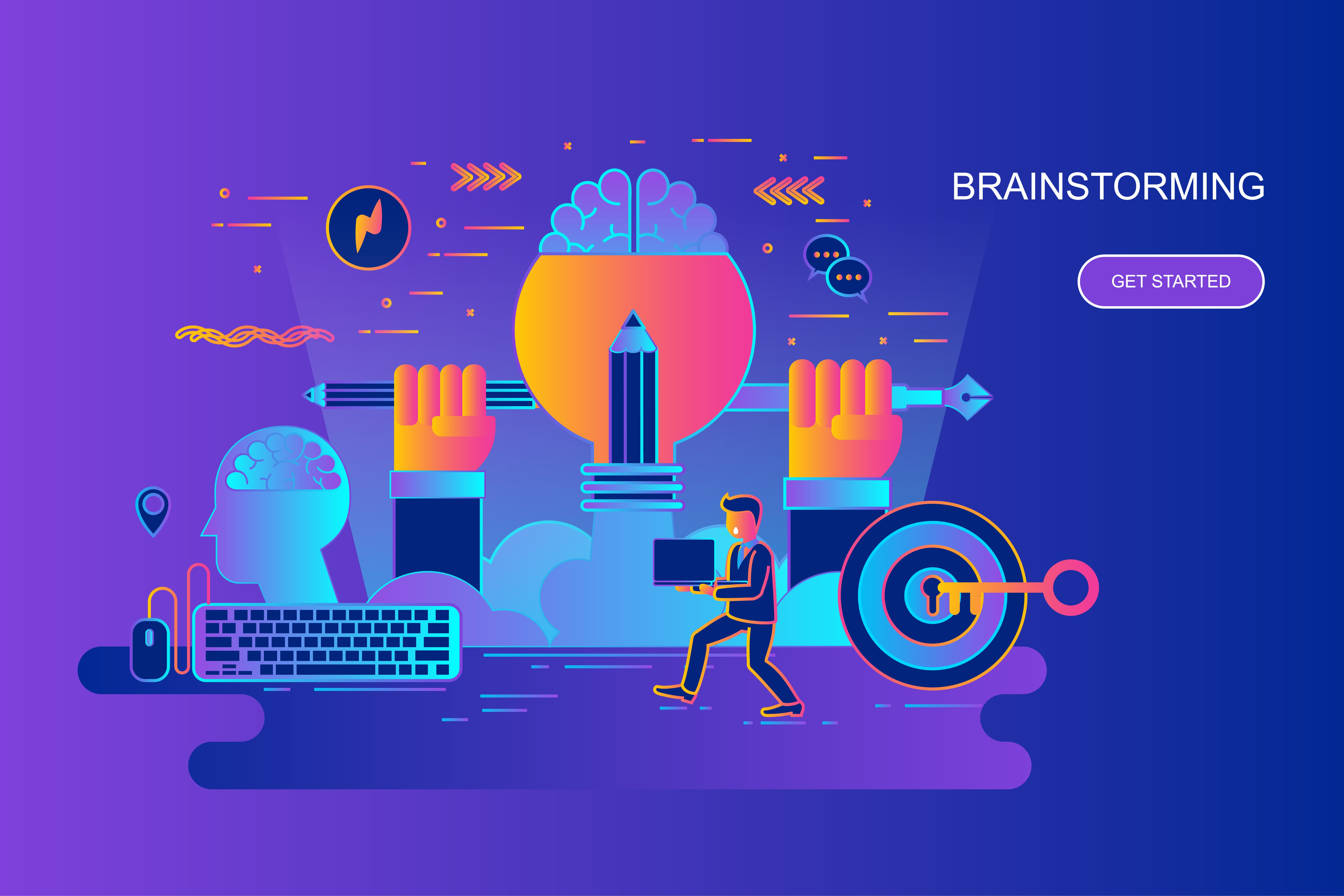 Modern gradient flat line concept web banner of brainstorming with decorated small people character. Landing page template. Conceptual vector illustration for web and graphic design, marketing.