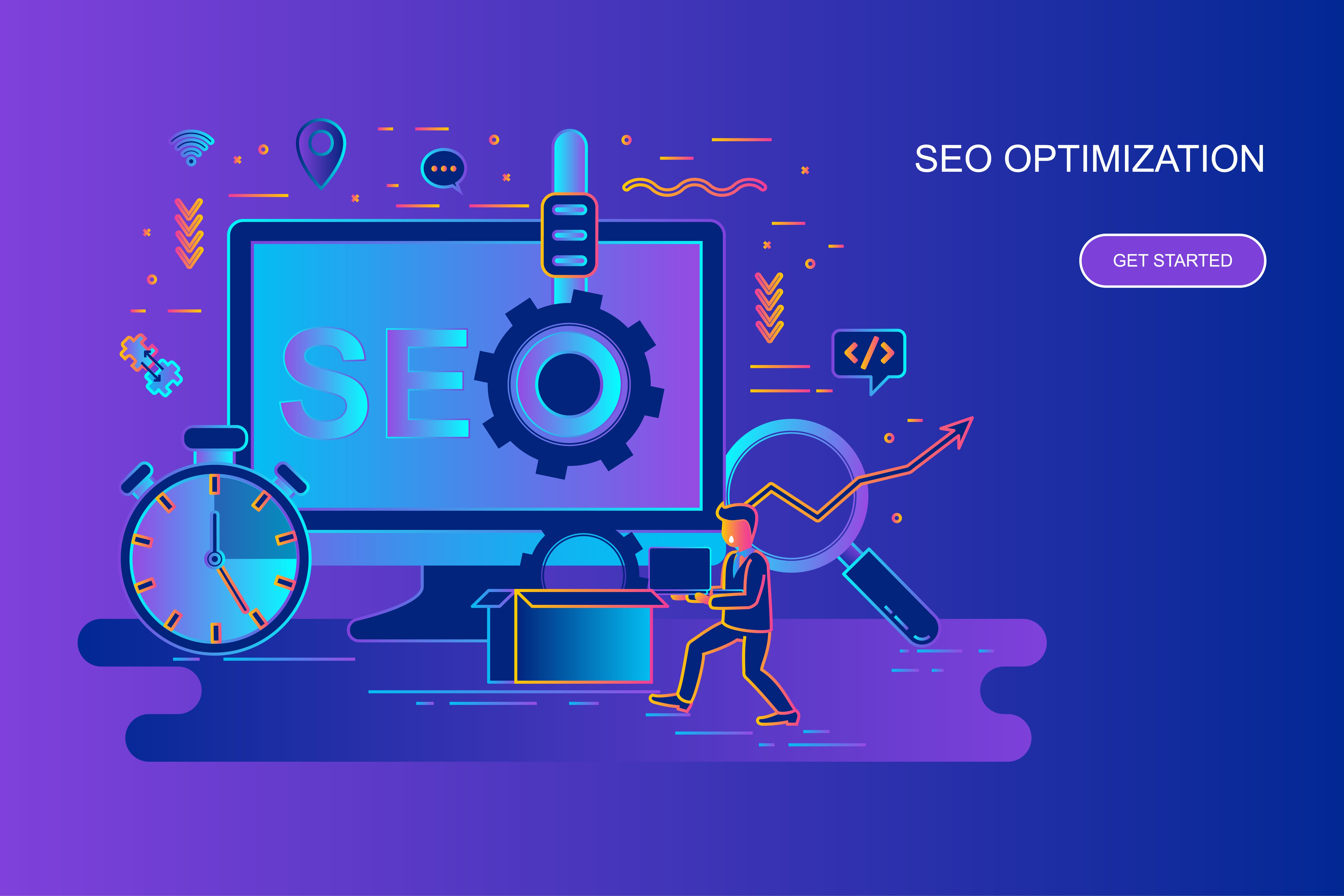 Modern gradient flat line concept web banner of seo optimization with decorated small people character. Landing page template. Conceptual vector illustration for web and graphic design, marketing.