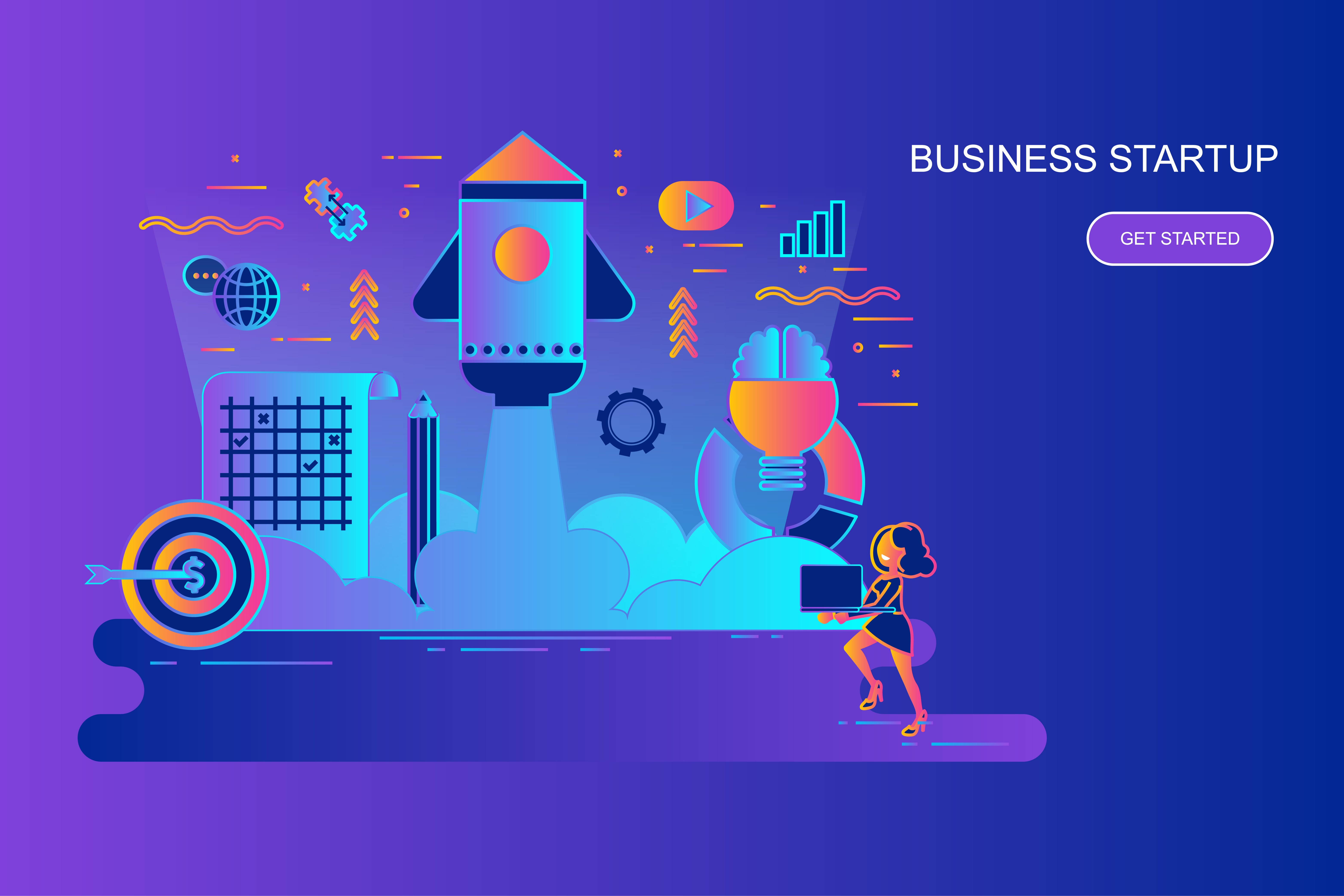 Modern gradient flat line concept web banner of business startup with decorated small people character. Landing page template. Conceptual vector illustration for web and graphic design, marketing.
